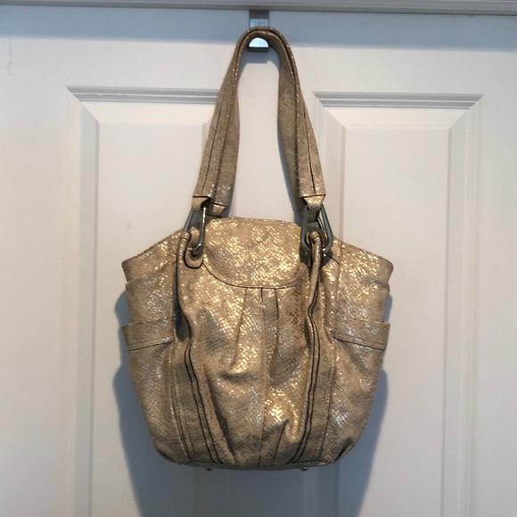 b. makowsky Handbags - B. Makowsky leather cream gold silver tote purse 754d6b3456